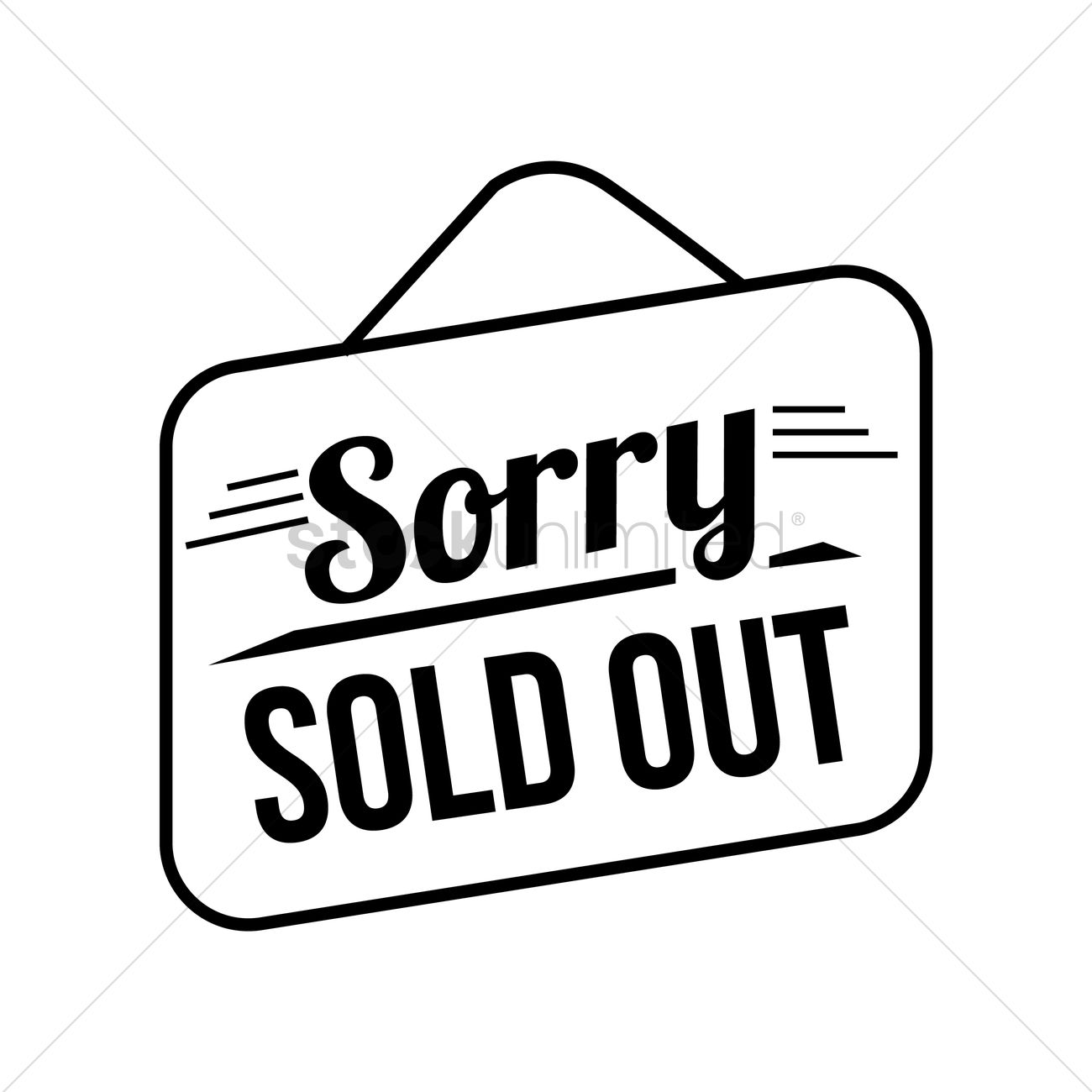 Sorry Sold Out Signboard Vector Image