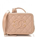 Chanel Cc Filigree Vanity Case Quilted Caviar Gold Tone Small Beige In Caviar With Gold Tone