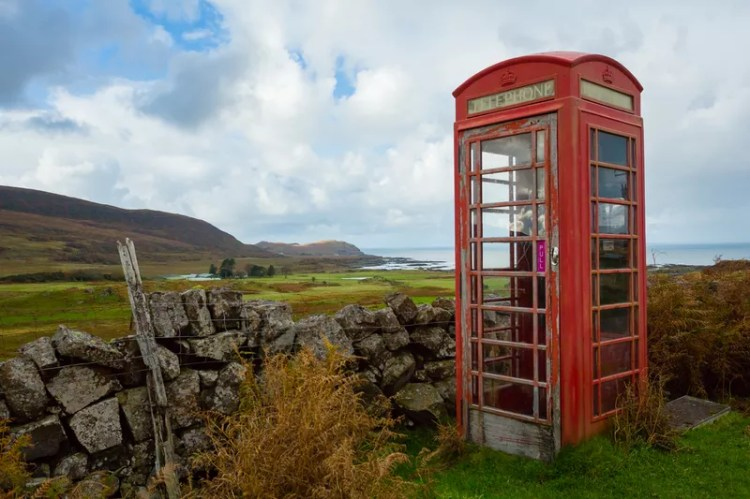 Old red telephone box on the Isle of Eigg