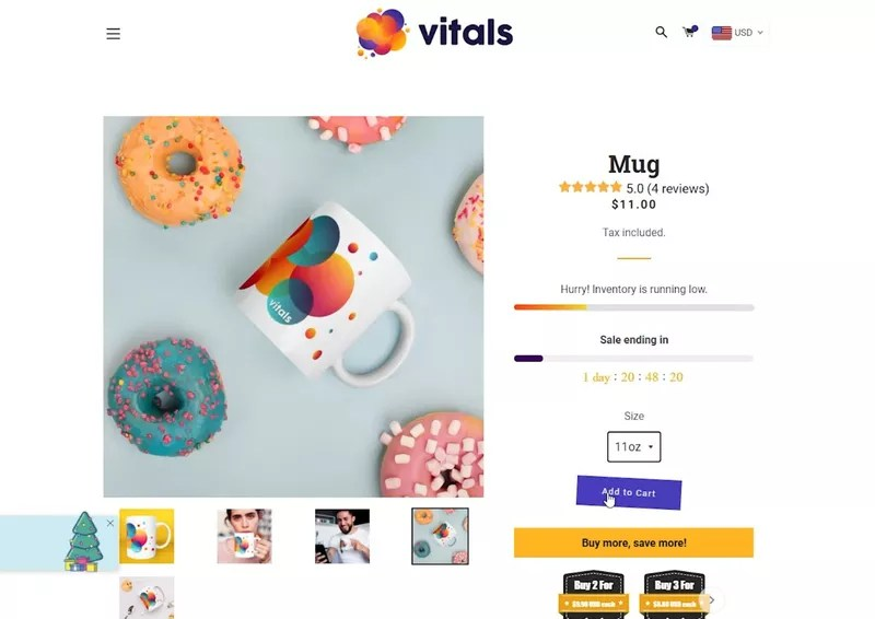 Vitals helps shopify landing pages