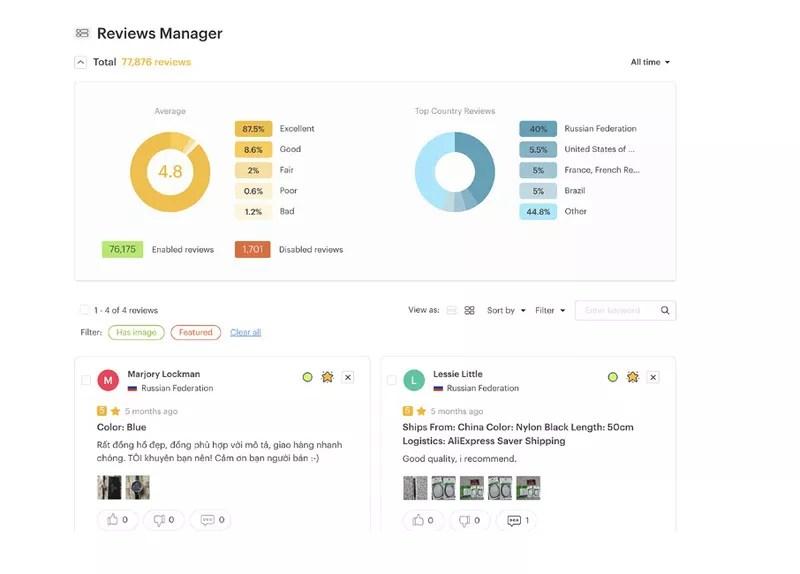 Ryviu Reviews Manager with analytics UI
