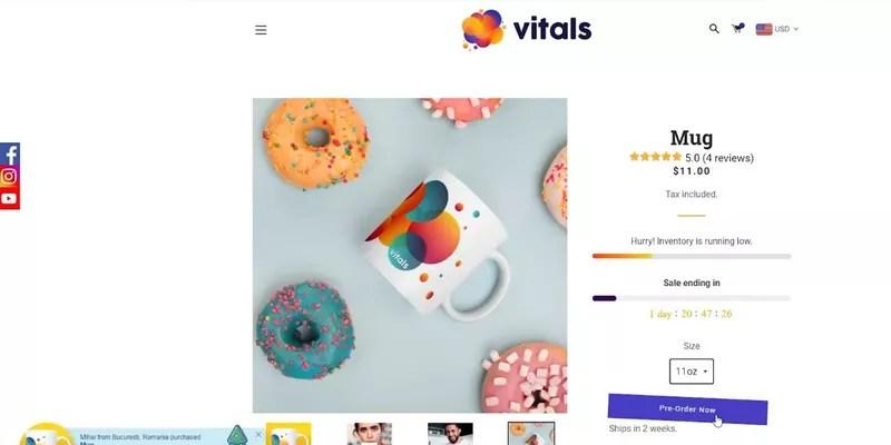 Vitals Pre-Order app
