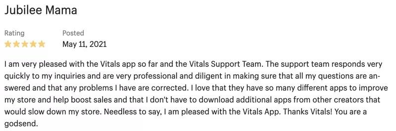 Vitals Recent Sales Notification App Reviews
