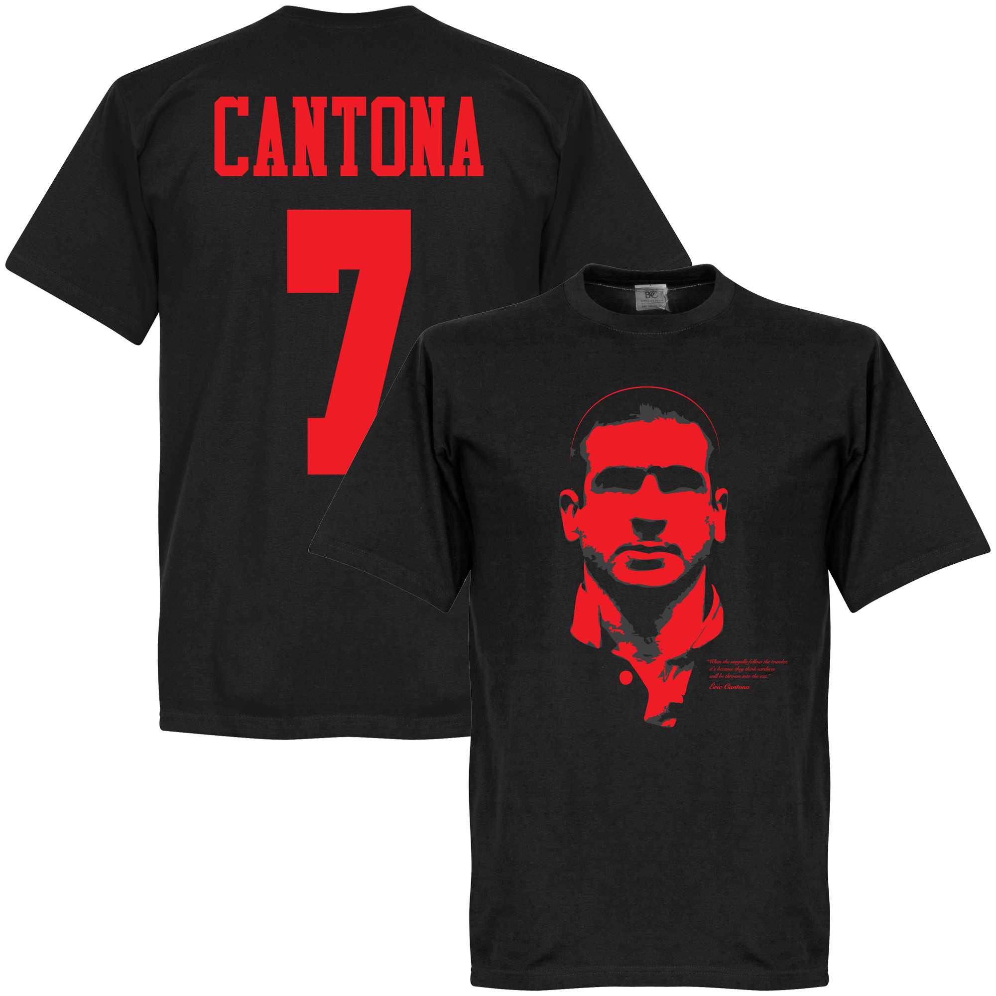 Cantona Silhouette T-shirt - Black/Red - XS