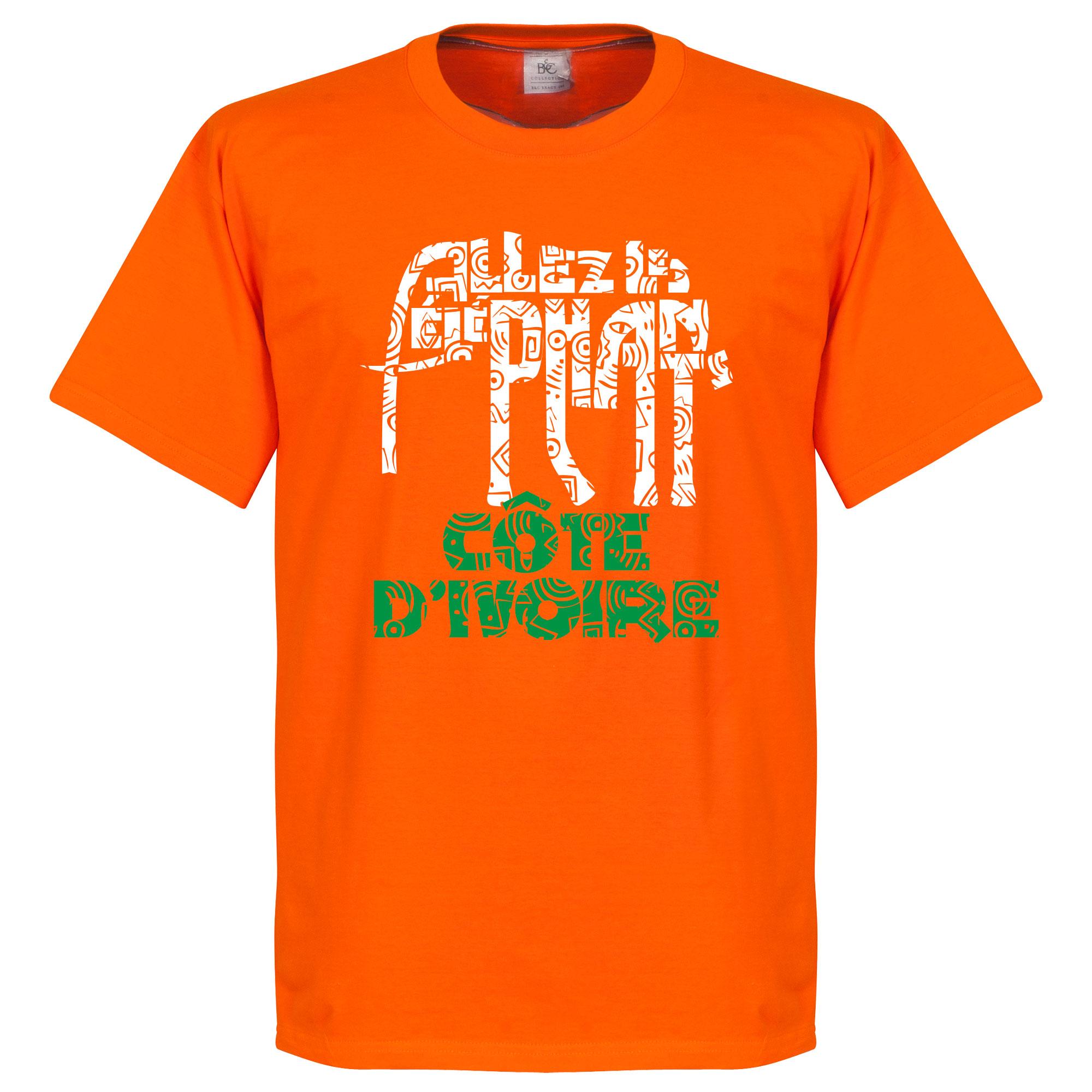 Ivory Coast Allez Les Elephants Tee - Orange - XL