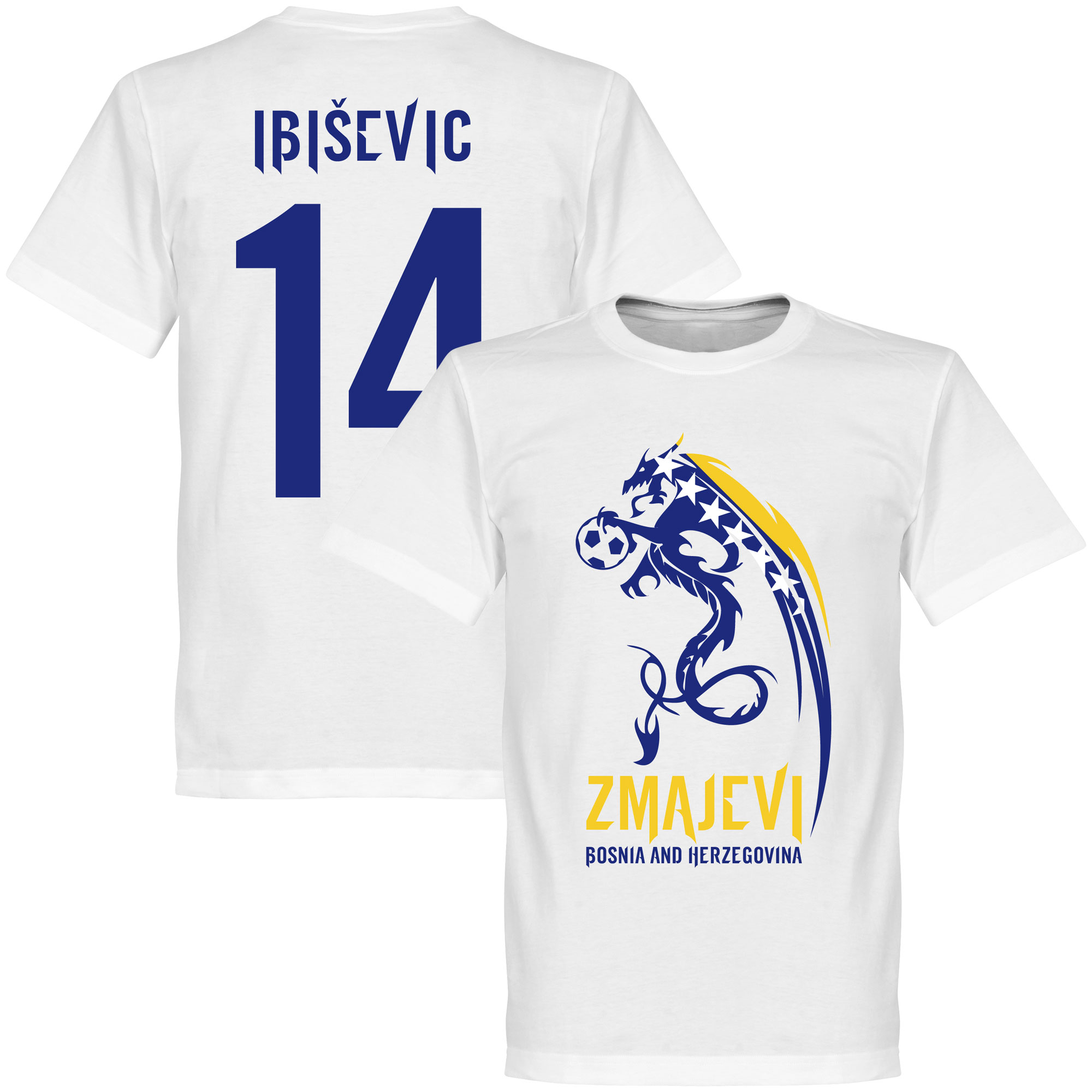 Bosnia Herzegovina Zmajevi Tee + Ibisevic 14 - White - M