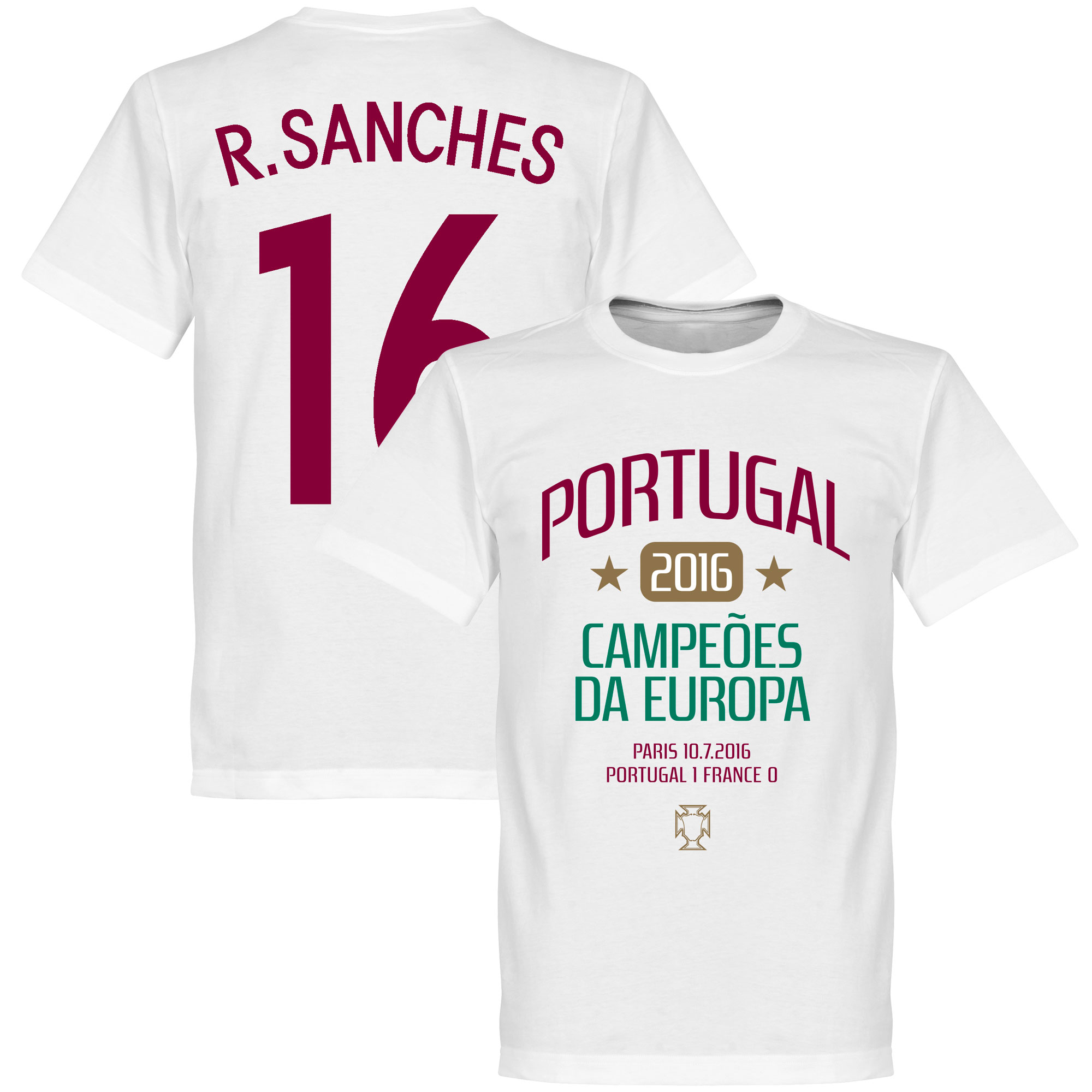 Portugal European Champions 2016 Sanches Tee - White - XXXXL