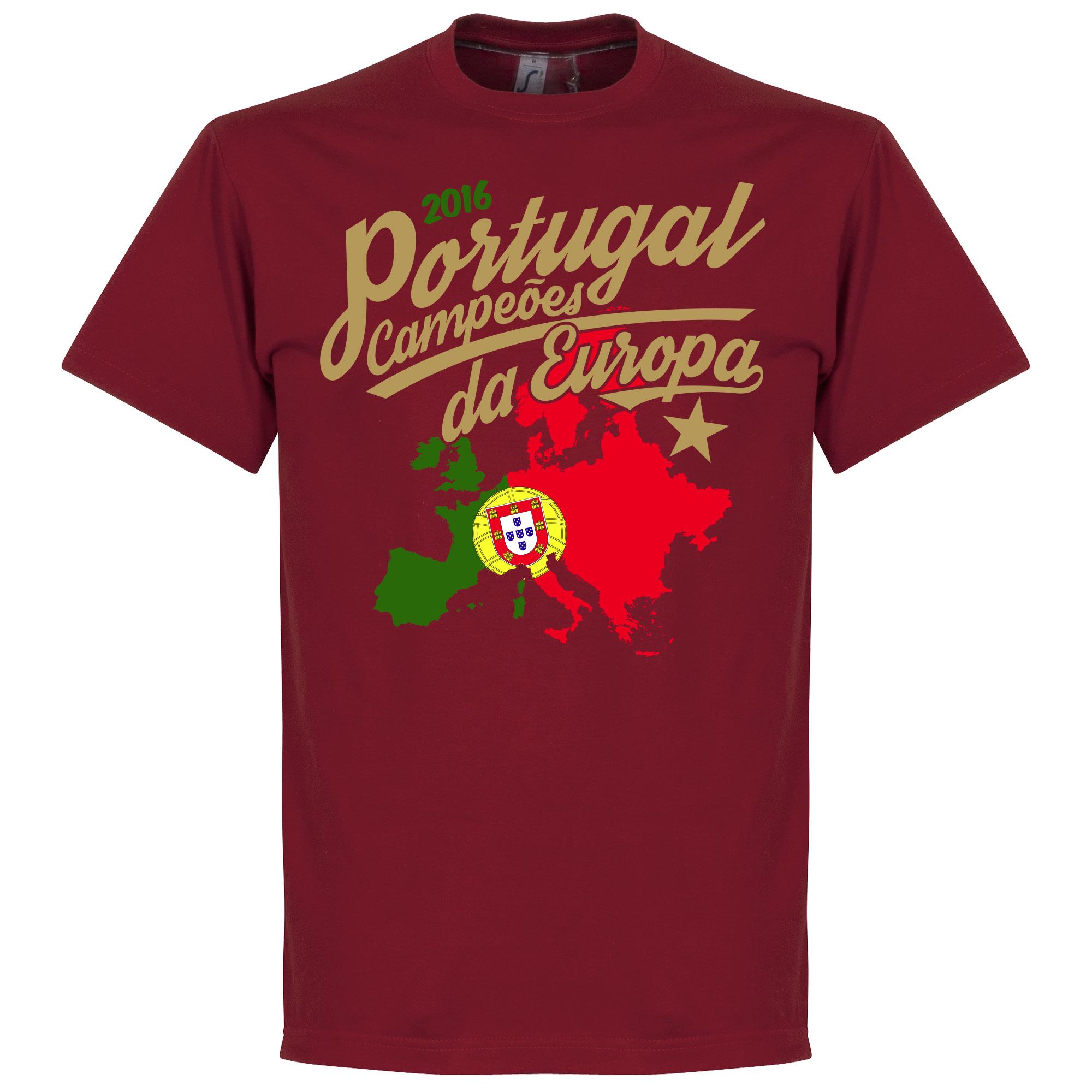 Portugal Campeóes Da Europa 2016 Tee - Deep Red - L