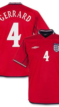 02-03 England Away Jersey + Gerrard 4 - Reversible - S