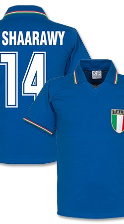 1982 Italy Home Retro Shirt + El Shaarawy 14 (Fan Style) - S