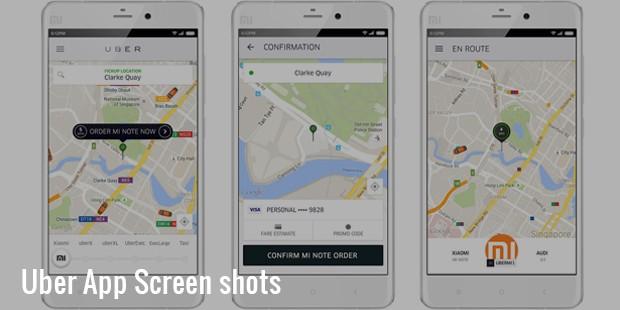 Uber App Screen shots