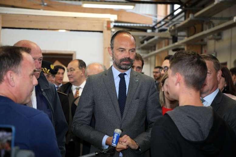 Visite du Premier ministre Edouard Philippe en Charente à Chasseneuil-sur-Bonnieure CFA BTP.