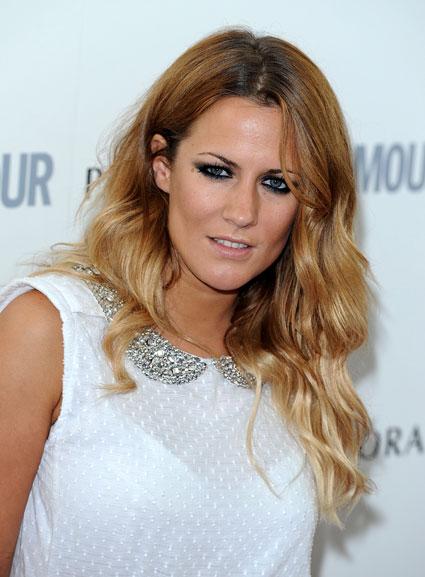 Caroline Flack in white top