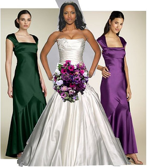 green and purple wedding dress