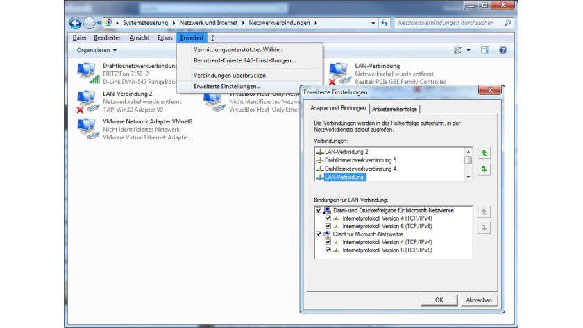 Netzwerk Tipp Fur Windows 7 Lan Verbindungen Priorisieren Tecchannel Workshop