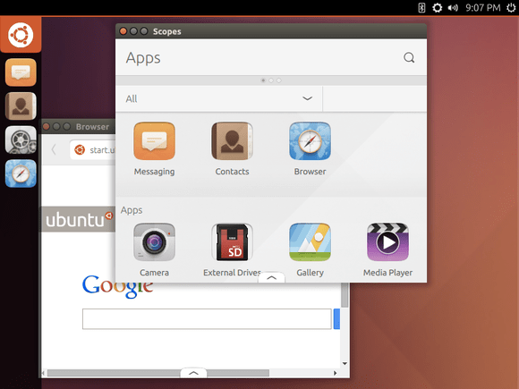 unity 8 desktop with new apps
