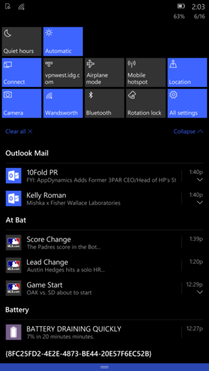 Windows Mobile 10 Build 10136 action icons