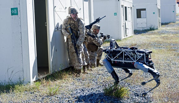 Boston Dynamics Spot robot with Marines at Quantico