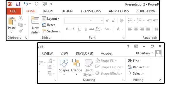2013 PowerPoint Ribbon + Tab menus - www.office.com/setup