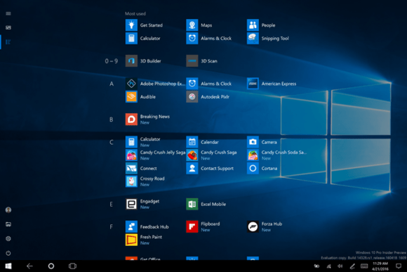 windows 10 new start menu tablet mode Build 14328