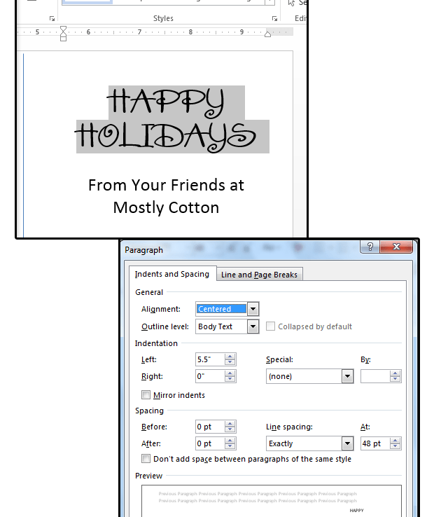 07 enter a festive font choose effectsleading