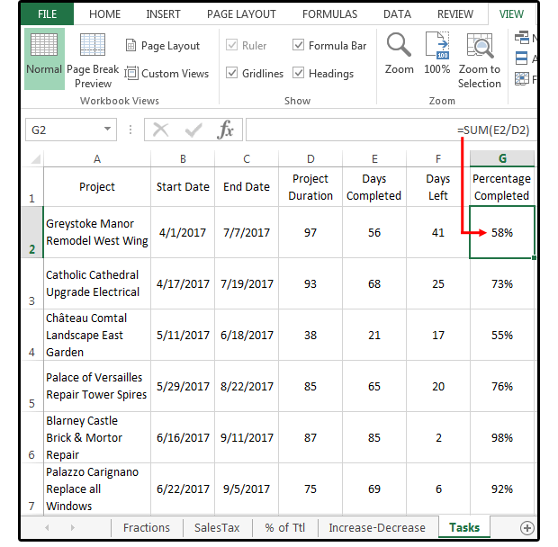 05 calculate the percentage of a task project completed