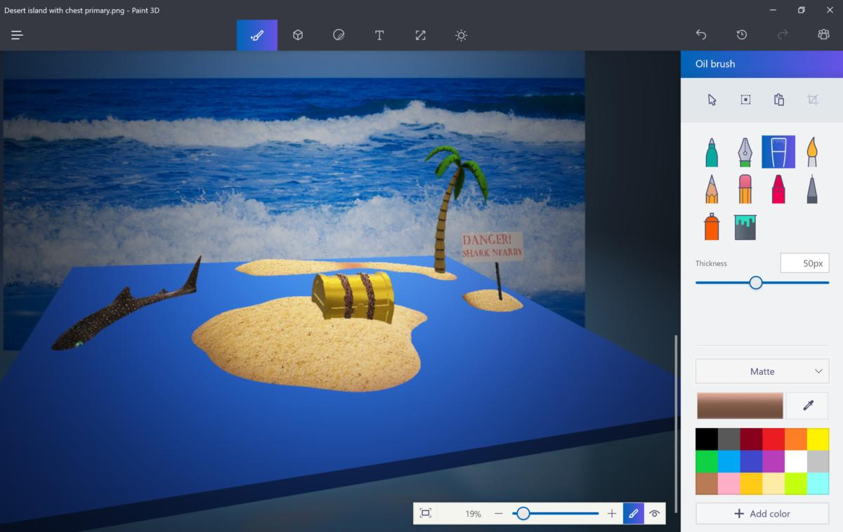 Microsoft Paint 3D desert island