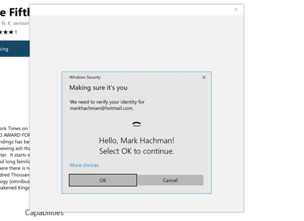 Microsoft Edge purchase using Windows Hello