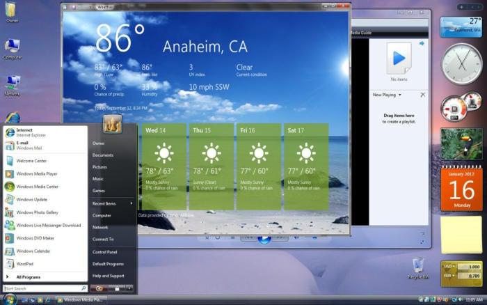 windows vista desktop gadgets