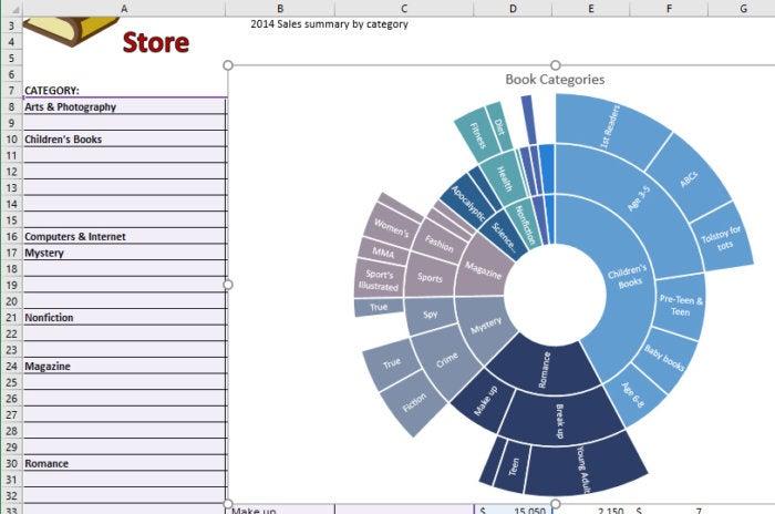 Excel 2016 sunburst chart