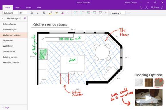 Microsoft OneNote UI