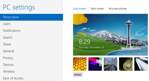 lock screen settings screen