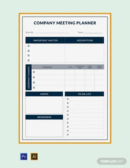 Free Company Meeting Planner Template Word Excel Psd