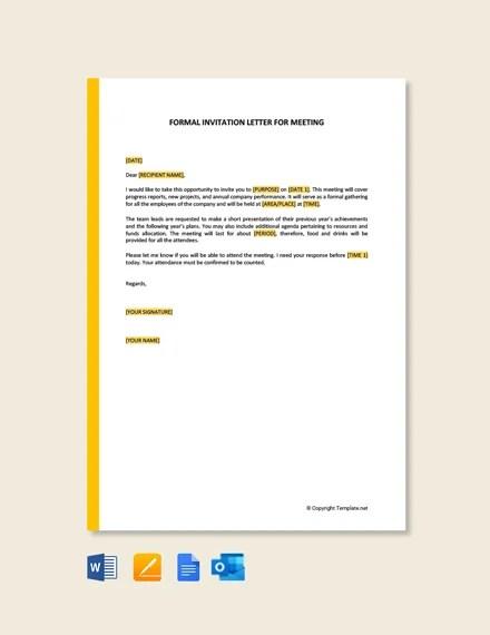 formal invitation letter for meeting