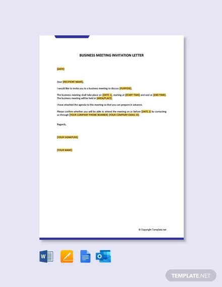 business meeting invitation letter