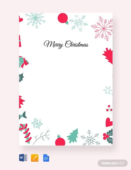 FREE Christmas Border Letter Template Download 1251
