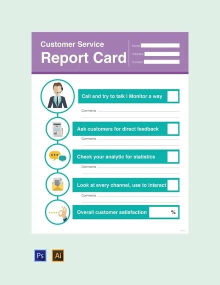 Free Customer Service Report Card Template Psd