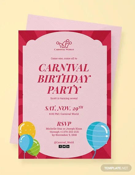 carnival birthday invitation templates