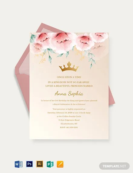 18 Beautiful Princess Invitations Psd Ai Free