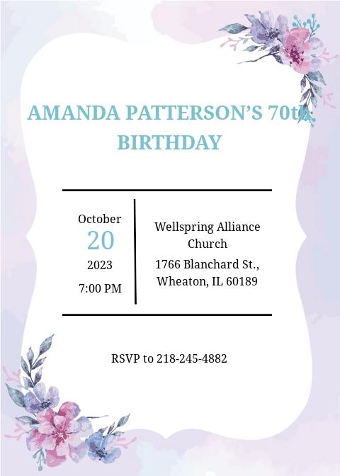 70th birthday invitation template free