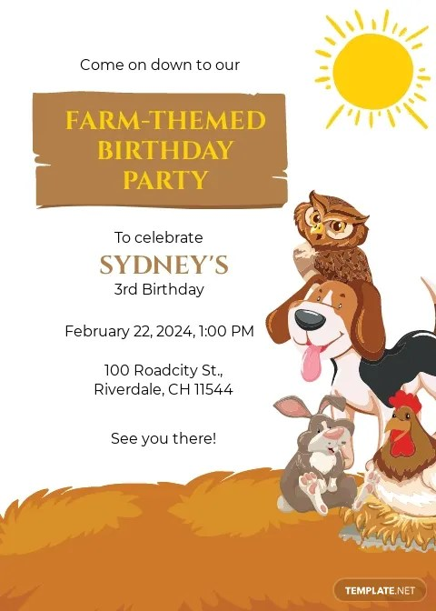 farm party invitation template free