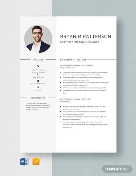 Certified Dietary Manager Resume Template Word Apple