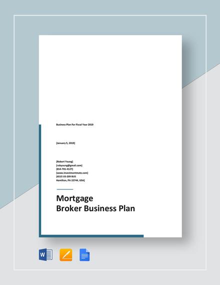 Mortgage Broker Business Plan Template Word Doc Google