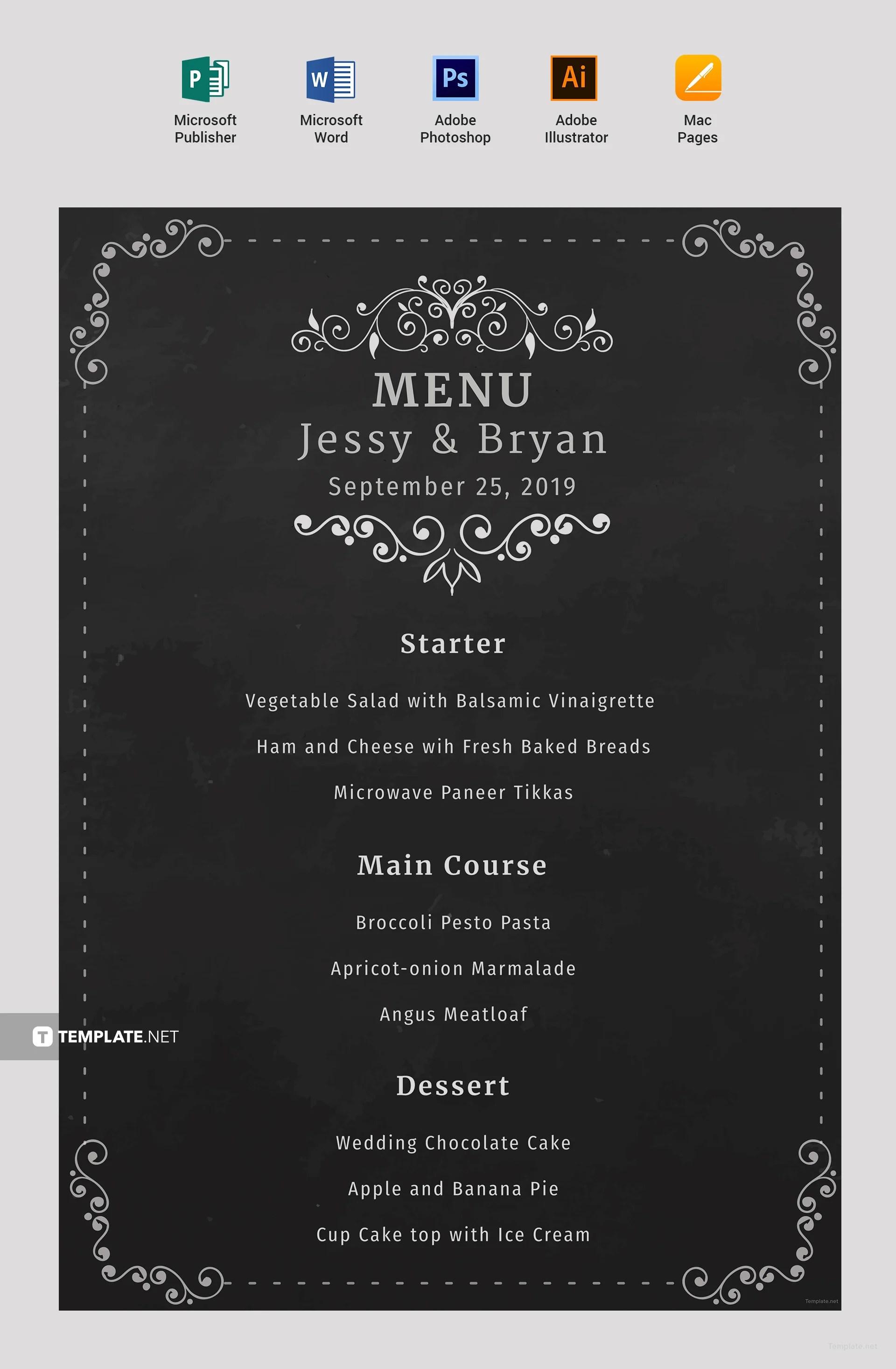 Free Chalkboard Wedding Menu Template In Microsoft Word Microsoft Publisher Adobe Illustrator