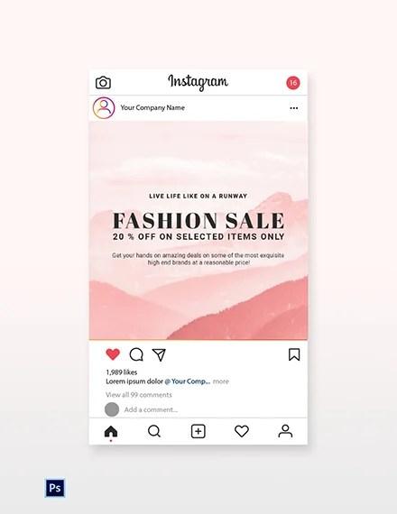 Free Blank Fashion Sale Instagram Post Template Psd