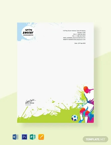Free Soccer Letterhead Template Word Psd Apple Pages