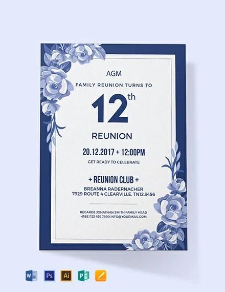 Free Family Reunion Invitation Template Word Psd