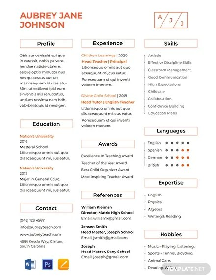 Free Teacher Resume Format Template