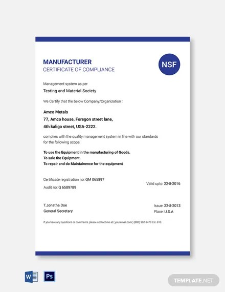 Manufacturer Certificate Of Compliance Template Word Psd