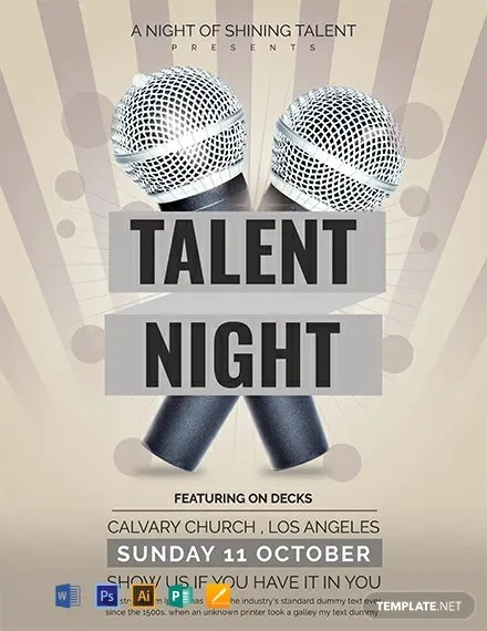 FREE Talent Show Flyer Template Word PSD Apple Pages Publisher Illustrator